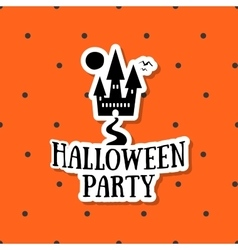 Halloween sticker ghost house vector