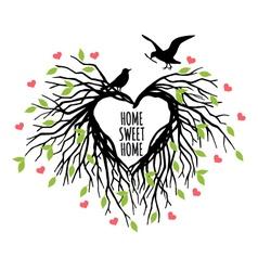 heart shaped bird nest vector image vector image