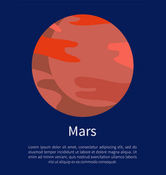 red mars planet on informative poster with text vector image