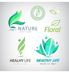 set of eco icons logos Healthy man vector image vector image