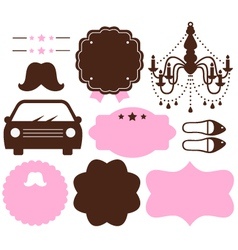 Set of vintage design elements isolated on white vector image vector image