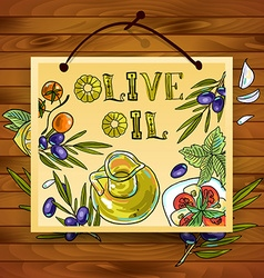Hand-draw beautiful poster olive oil vector