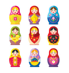 matryoshka or babushka dolls set in a flat style vector image