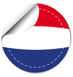 netherlands flag on round sticker vector image vector image