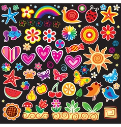 set of cheerful sticker vector image vector image