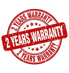 2 years warranty red grunge round vintage rubber vector image