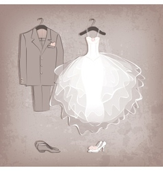 Bride dress and groom suit on grungy background vector
