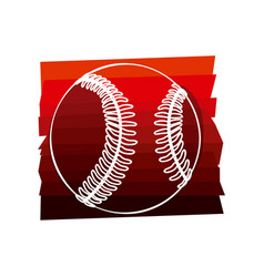 color background with baseball ball in white vector image vector image