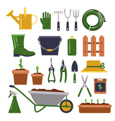 different work tools for gardening icons vector image vector image