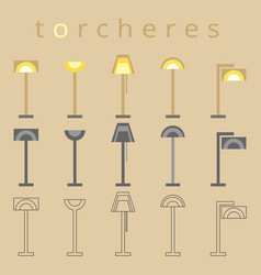 floor lamp line icon flat design torchere vector image