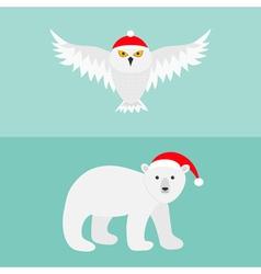 Snowy white owl Polar bear Red Santa hat Flying vector image