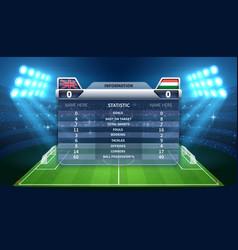 soccer scoreboard and football stadium vector image vector image