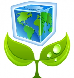 sprout with globe vector image