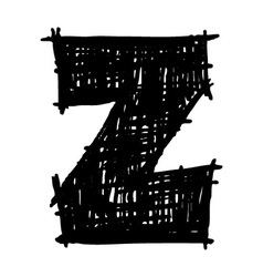 Z - hand drawn character sketch font vector image