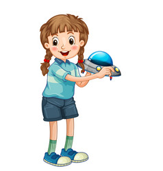 A girl holding rocket toy cartoon character vector
