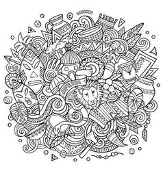 africa hand drawn cartoon doodles vector image