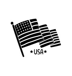american waving flag independence day hand drawn vector image