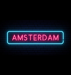 amsterdam neon sign bright light signboard vector image