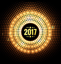 background of 2017 with golden dots and lights vector image