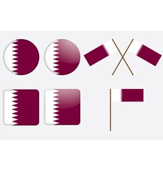 badges with flag of Qatar vector image