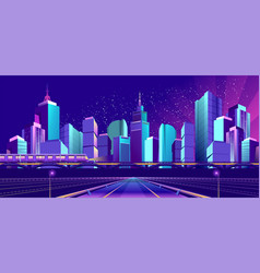 banner night city vector image