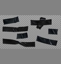 Black insulating adhesive wrinkled stripes set vector