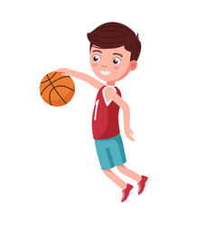 boy basketball player jumps with ball vector image