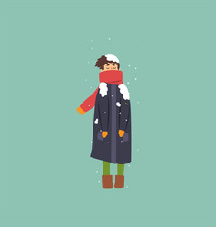 Boy in warm coat and scarf freezing and shivering vector