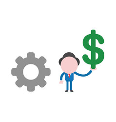 businessman character with gear and holding dollar vector image