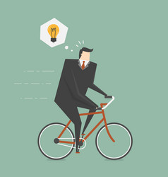 businessman get idea while cycling vector image