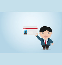 Businessman holding business card vector