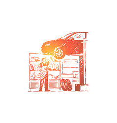 car repair shop vehicle workshop young mechanic vector image