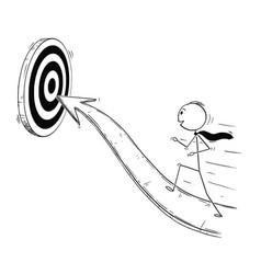 Cartoon businessman running on arrow vector