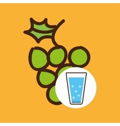 Cartoon cup glass water with grape fruit vector