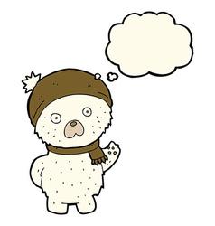 cartoon cute polar bear in winter hat and scarf vector image