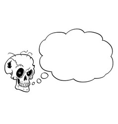Cartoon or drawing crazy halloween skull with vector