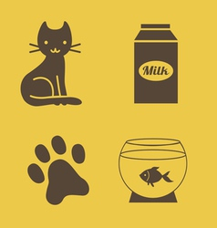 Cat theme icons vector