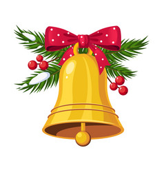 christmas bells with bow and berries holiday vector image