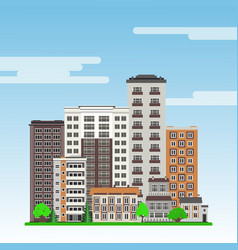 city landscape with high-rise apartment houses and vector image