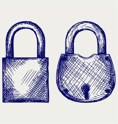 Closed locks security icon vector image
