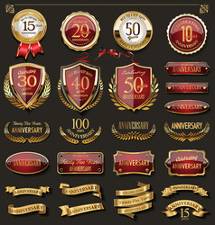 Collection of elegant red and gold anniversary vector