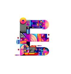 Colorful alphabet font letter e for logo vector