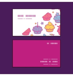 Colorful cupcake party horizontal corner frame vector