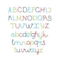colorful rounded line font - thin vector image