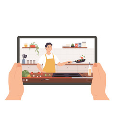 cooking video hands holding tablet with culinary vector image