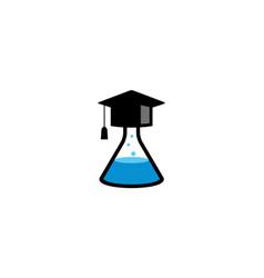 Creative beaker hat laboratory logo vector