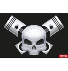 Creative symbol Human skull with engine vector