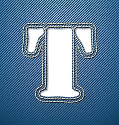 Denim jeans letter T vector image