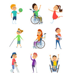 Disabled people wheelchair for kids children vector