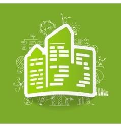 Drawing business formulas city skyscrapers vector